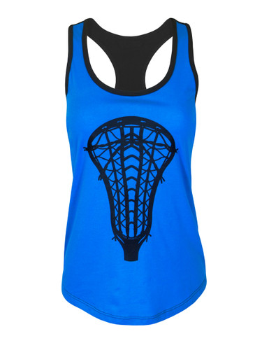 Women's Lacrosse Head Tank Top Contrast Shirt in Black/Turquoise