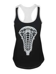Women's Lacrosse Head Tank Top Contrast Shirt in Black/White
