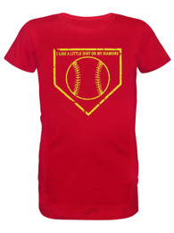 Girl's Youth Softball Dirt on Diamond Saying T-Shirt