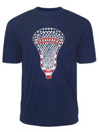 Men's American Flag Lacrosse Head Performance T-Shirt in Navy