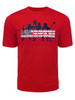 Men's Lacrosse Team with USA Word Performance T-Shirt in Red
