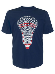 Boy's Youth Lacrosse American Flag Head Performance T-Shirt