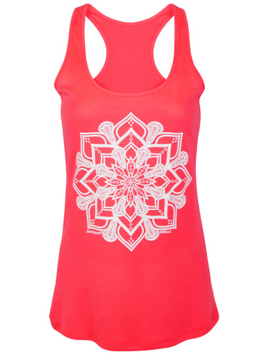 Women's Lacrosse Head Mandala Graphic Performance Tank Top in Neon Coral