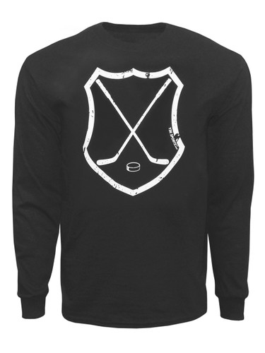 Men's Ice Hockey Crossed Sticks Shield Long Sleeve Shirt in black