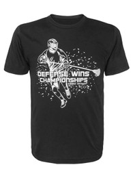 Boy's Youth Lacrosse Defense Wins Championships Quote Performance T-Shirt in Black