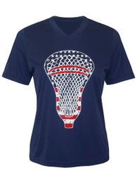 Women's American Flag Lacrosse Head Performance T-Shirt
