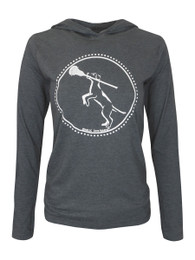 Women's Lacrosse Dog with Stick Hoodie T-Shirt in Charcoal