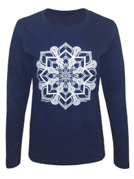 Women's Lacrosse Head Mandala Long Sleeve T-Shirt in Navy