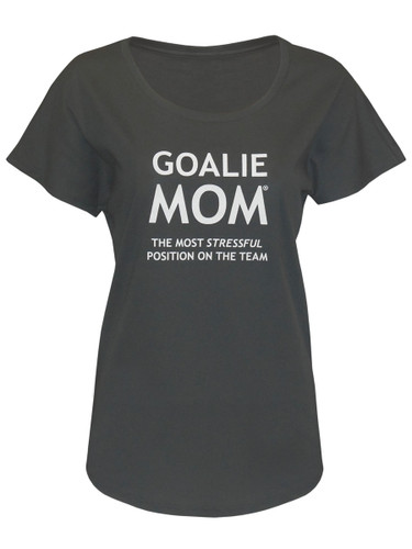 Women's Goalie Mom Stressful Saying Dolman T-Shirt in Charcoal