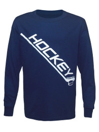 Boy's Youth Ice Hockey Diagonal Stick Long Sleeve T-Shirt