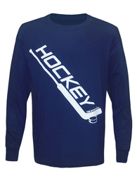 Boy's Youth Ice Hockey Diagonal Goalie Stick Long Sleeve T-Shirt