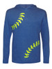 Girl's Youth Softball Laces Hoodie T-Shirt in Blue Heather