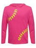 Girl's Youth Softball Laces Hoodie T-Shirt in Pink