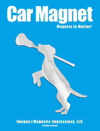 Lacrosse Dog with Lax Stick Car Magnet in Chrome