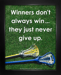 Framed Lacrosse Inspirational Winners Quote Women's 8 x 10 Sport Poster Print