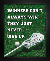 Framed Lacrosse Inspirational Winners Quote Men's 8 x 10 Sport Poster Print