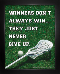 Framed Lacrosse Inspirational Winners Quote Men's 8 x 10 Sport Poster Print