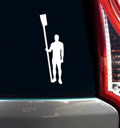 Crew Rower Male Window Decal in white on vehicle