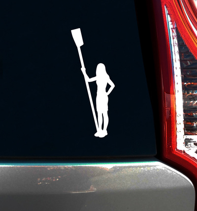 Crew Rower Female Window Decal in white on vehicle