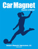 Soccer Player Female Kick Car Magnet in blue