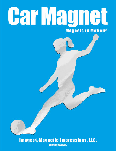 Soccer Player Female Kick Car Magnet in chrome