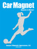Soccer Player Female Kick Car Magnet in brushed silver