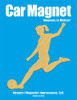 Soccer Player Female Kick Car Magnet in brushed gold