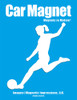 Soccer Player Female Kick Car Magnet in white