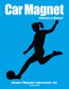 Soccer Player Female Kick Car Magnet in black