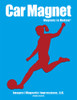 Soccer Player Female Kick Car Magnet in red
