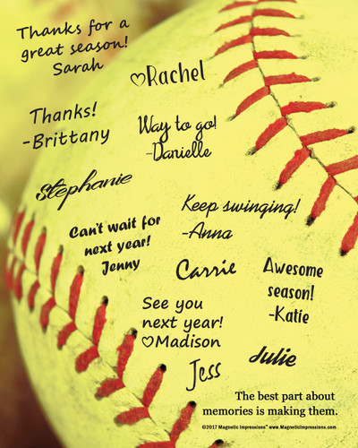 """Softball Team Quote Picture for Signatures 8"""" x 10"""" Sport Poster Print - Signatures not included"""