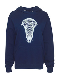 Women's Lacrosse Head Graphic Hoodie Sweatshirt - Navy/Light Blue