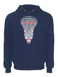 Men's Lacrosse American Flag Head Hoodie Sweatshirt