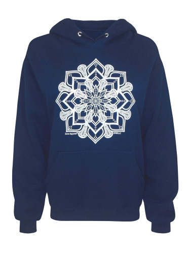 Women's Lacrosse Head Mandala Graphic Hoodie Sweatshirt in Navy