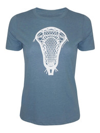 Women's Lacrosse Head Graphic T-Shirt in Ocean Gray