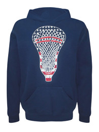 Boy's American Flag Youth Lacrosse Head Hoodie Sweatshirt Navy