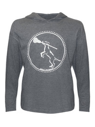Girl's Lacrosse Dog with Stick Hoodie T-Shirt in charcoal