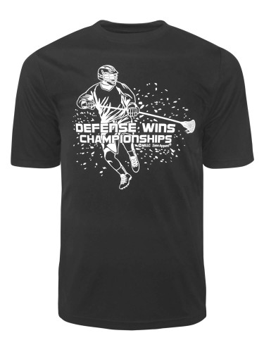 Men's Lacrosse Defense Wins Quote Performance T-Shirt in black