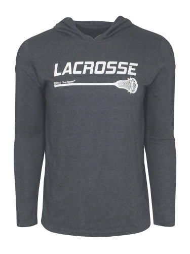 Men's Lacrosse Stick Hoodie T-Shirt in charcoal