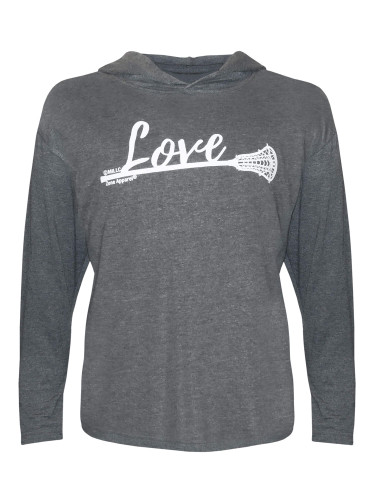 Girl's Lacrosse Love with Lax Stick Hoodie T-Shirt in charcoal