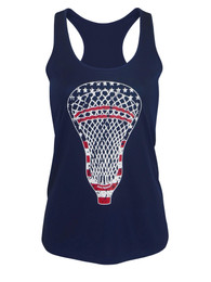 Women's American Flag Lacrosse Head Performance Tank Top in navy
