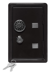 "Kid's Coin Bank Safe - Single Digit Combination Lock and Key - 7"" High Black"