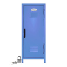 Kid's Mini Locker with Lock and Key in Pastel Blue