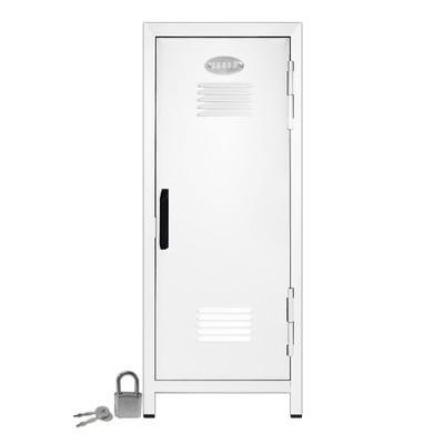 Kid's Mini Locker with Lock and Key in White