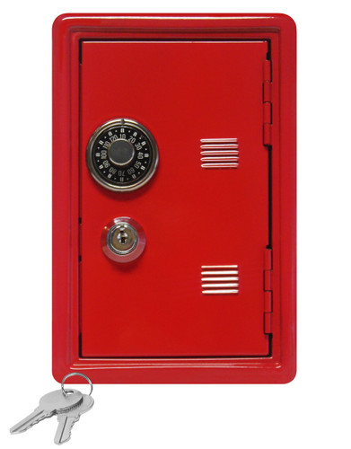 "Kid's Coin Bank Safe - Single Digit Combination Lock and Key - 7"" High Red"