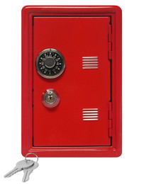 """Kid's Coin Bank Safe - Single Digit Combination Lock and Key - 7"""" High Red"""