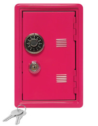 """Kid's Coin Bank Safe - Single Digit Combination Lock and Key - 7"""" High Hot Pink"""