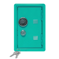 """Kid's Coin Bank Safe - Single Digit Combination Lock and Key - 7"""" High Teal"""