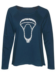 Women's Geometric Lacrosse Head Long Sleeve Shirt in Dark Blue
