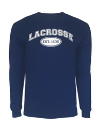 Men's Lacrosse Established 1636 Long Sleeve T-Shirt in navy
